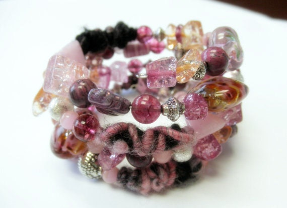 Pink and Purple Beaded Memory Wire Bracelet - HandcraftedSerenity