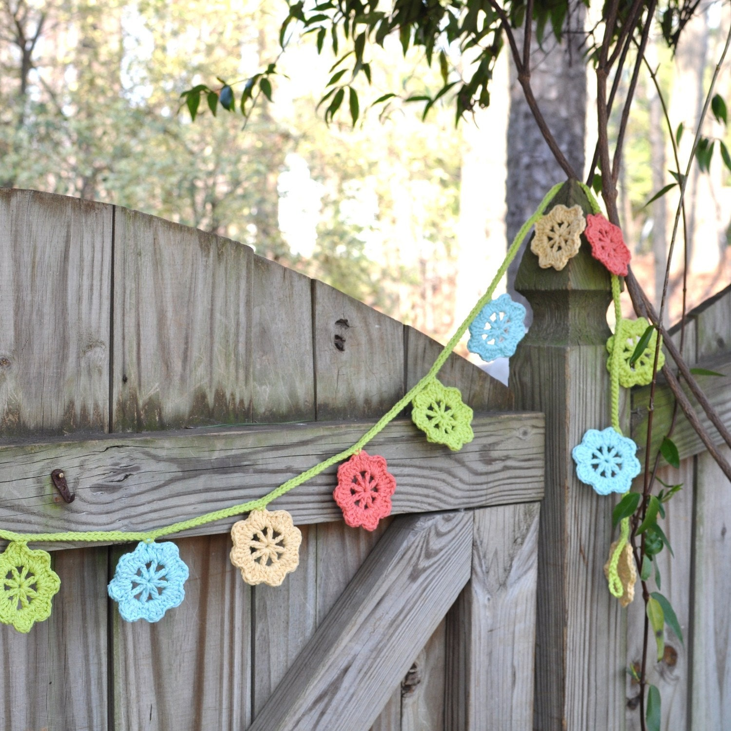 Shades of Spring - Crocheted Garland - Colorful Decoration