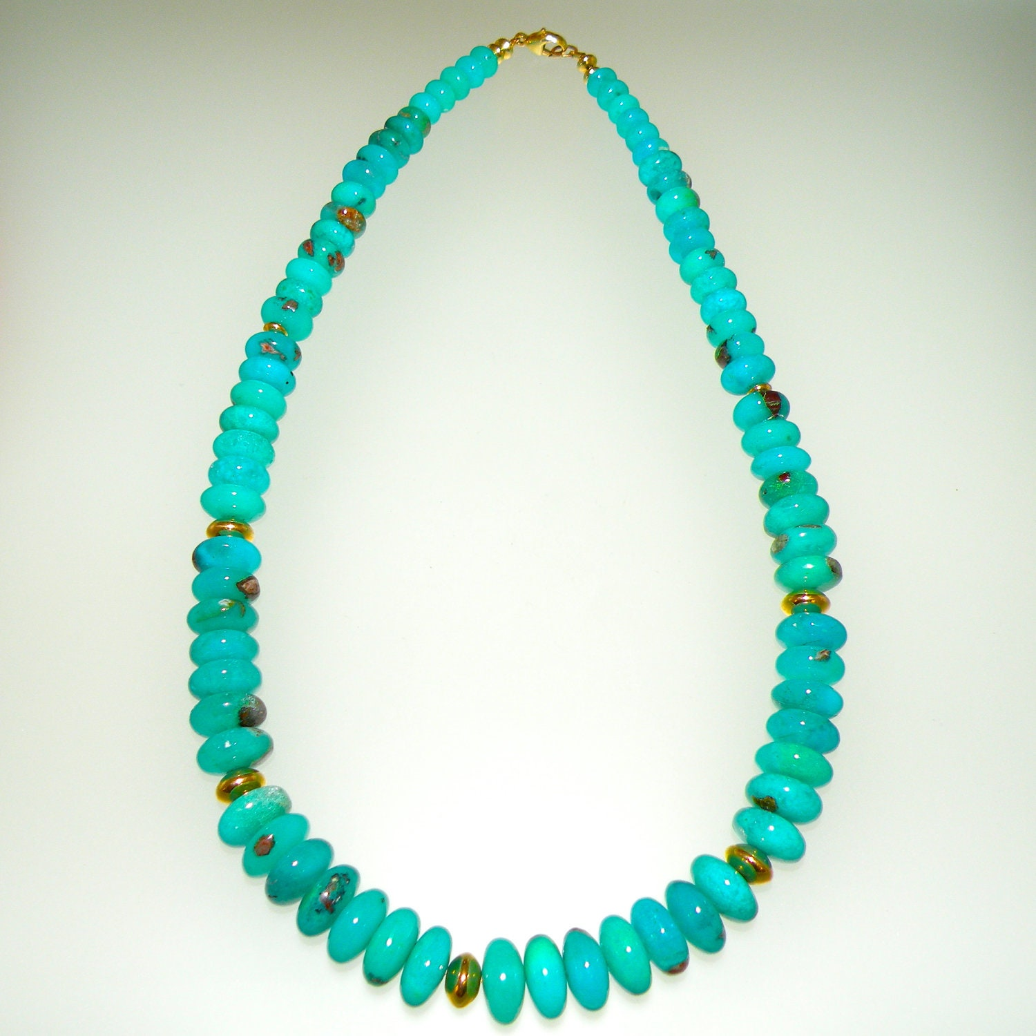 Gem Chrysocolla Silica 100% Natural Hand Strung Bead Necklace from Arizona, free U.S. shipping