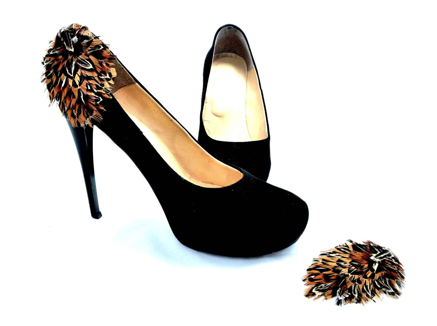 Nice Shoe Clips for Wedding / Black - Brown Feather Shoe Clips - HANDMADESHOECLIPS