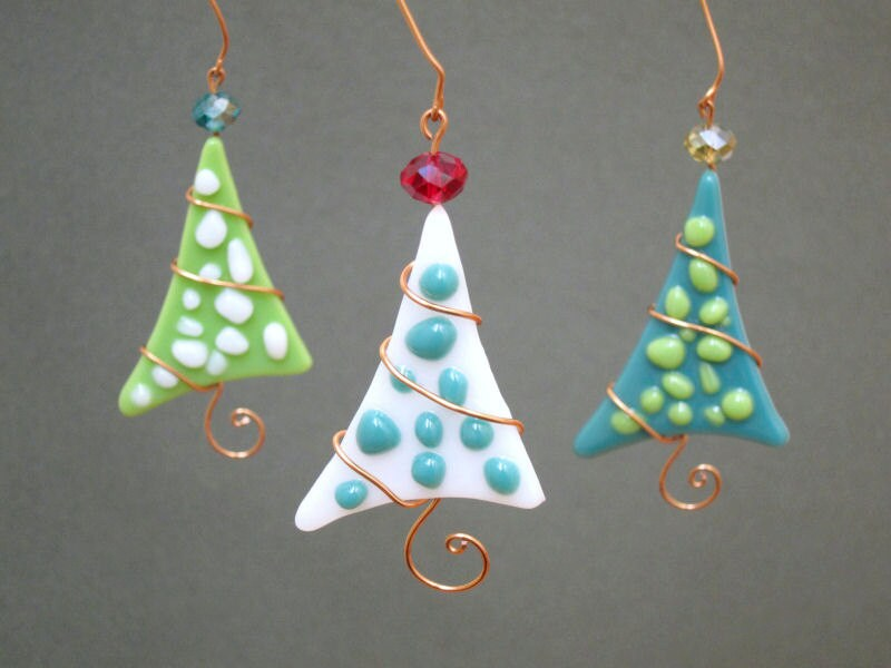 Christmas Tree Ornaments 3 Fused Glass Polkadot Party Favor Handmade OOAK Green teal