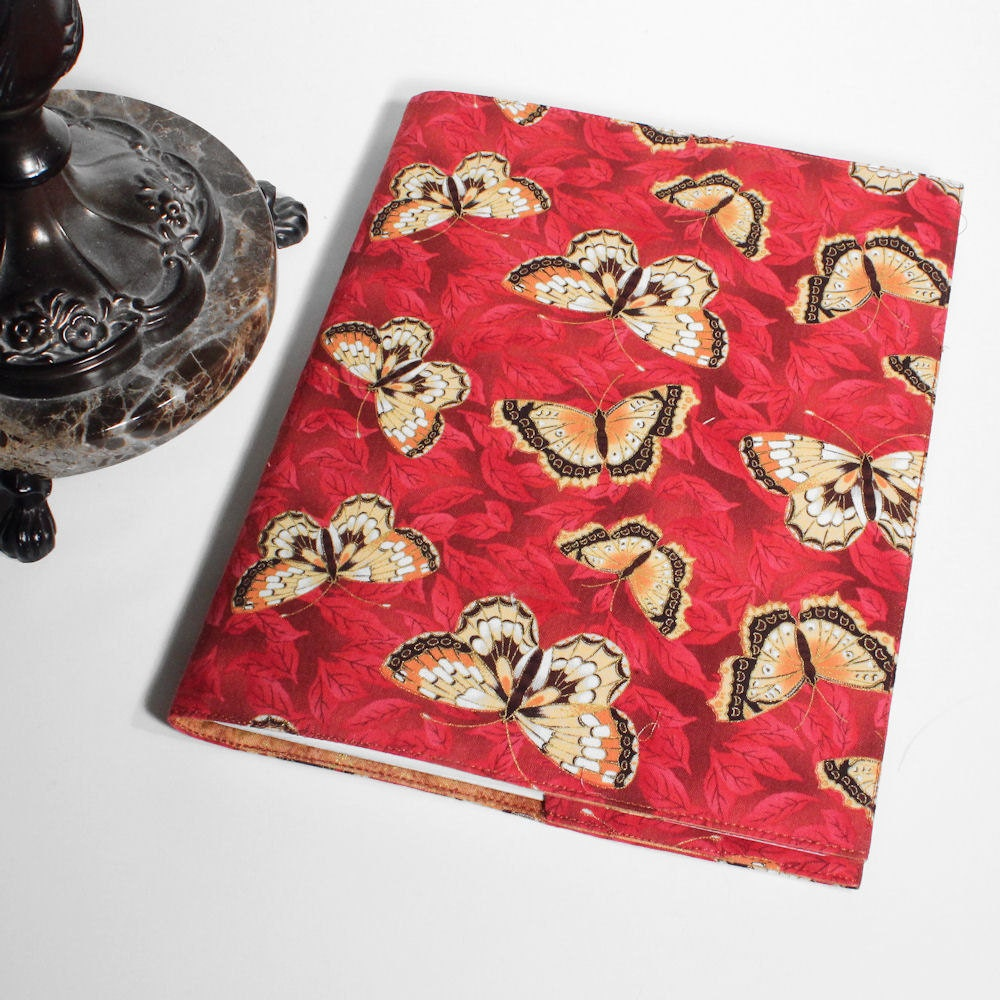 Butterflies Flower Journal Cover on Red Cotton Fabric - QuiltSewCover