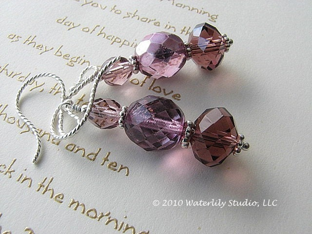 Plum purple dangle earrings for bridesmaids wedding bridal jewelry sterling