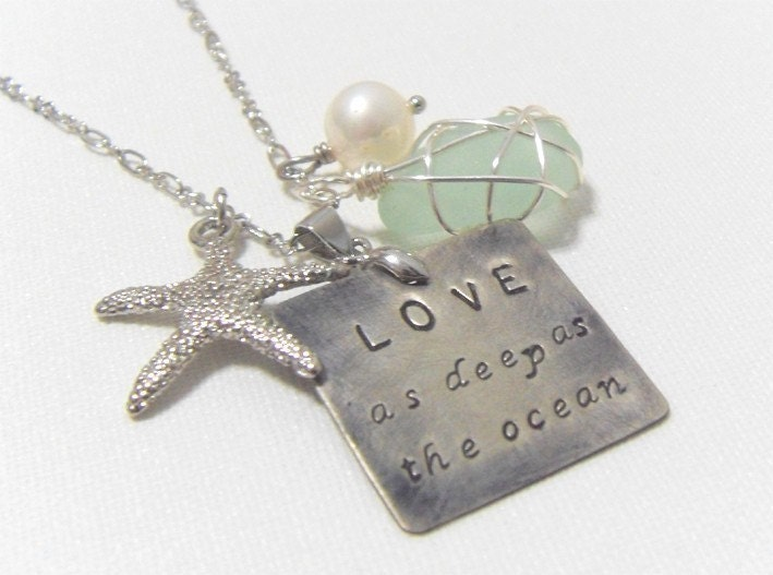 Love as deep as Ocean. starfish, coral, shell, sea glass, pearl, crystal necklace - ChlorisCouture