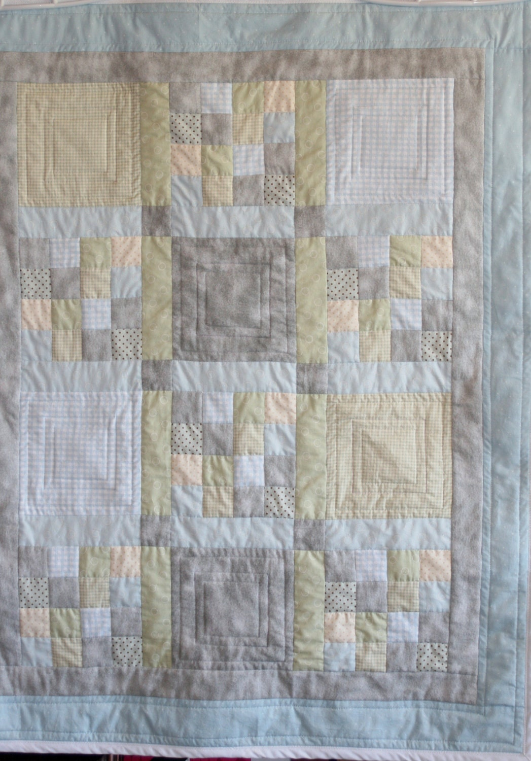Custom Made Baby Quilt Soft Cool Greens Blues & Gray's One of a Kind - Customquiltsbykathy