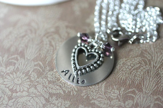Heart of Love Personalized Handstamped Necklace - Valentine's Sweetheart Gift
