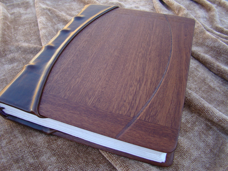 Handmade Leather Journal with Mahogany Panels, Hemp Paper, and Silk Headband - LeatherWoodBooks