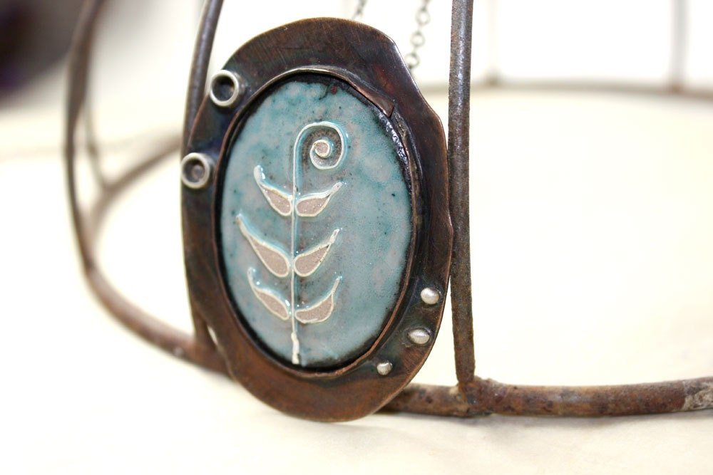 Oxidized Copper Statement Necklace Enamel Cloisonné Blue Fern Nature Sterling Silver Accents Steampunk Vintage Style - Waterrose