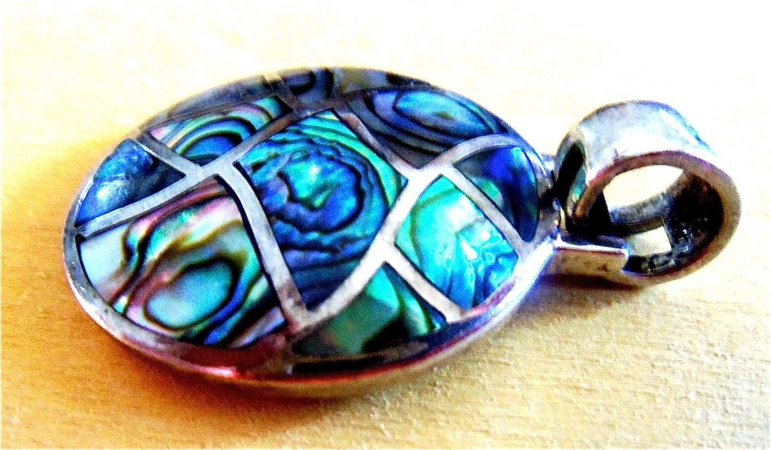 Vintage Oval Abalone Shell Pendant