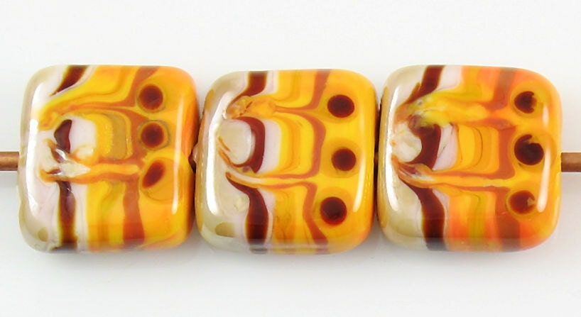 Handmade Artisan Organic Tribal Style Lampwork Orange Red Violet Square Glass Bead Set SRA - mlbellino