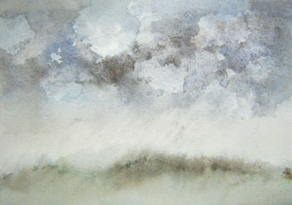 Art - Clouds - Rainy Day  - Home Decor - Limited Edition Glicee Print from Original Watercolour on Paper - Worksonpaperart