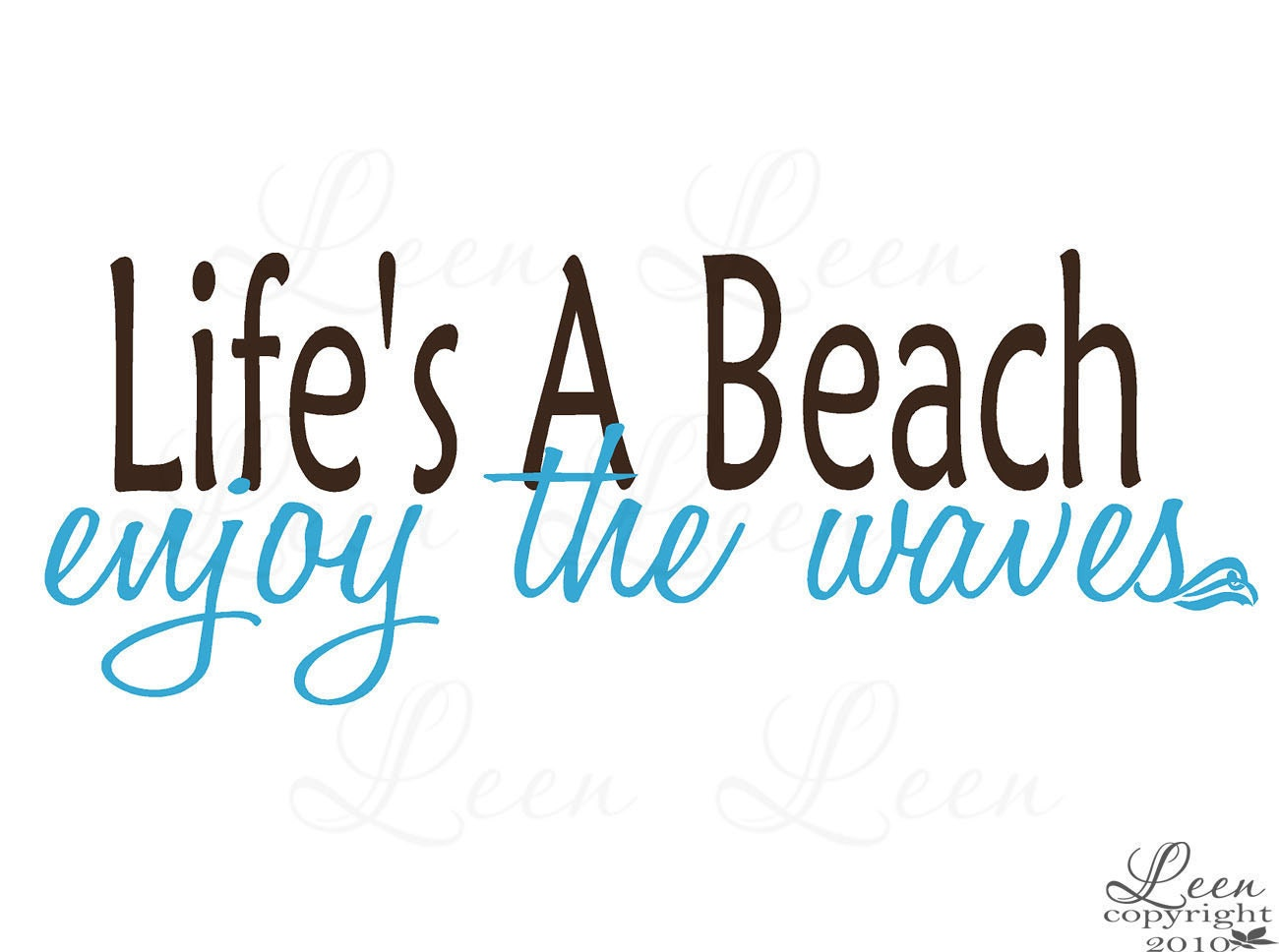 Lifes a Beach Enjoy the Waves Coastal Wall Decal - LeenTheGraphicsQueen