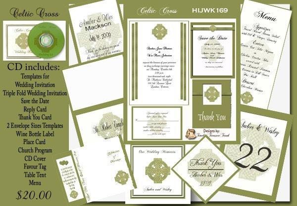 Delux Celtic Cross Wedding Invitation Kit on CD