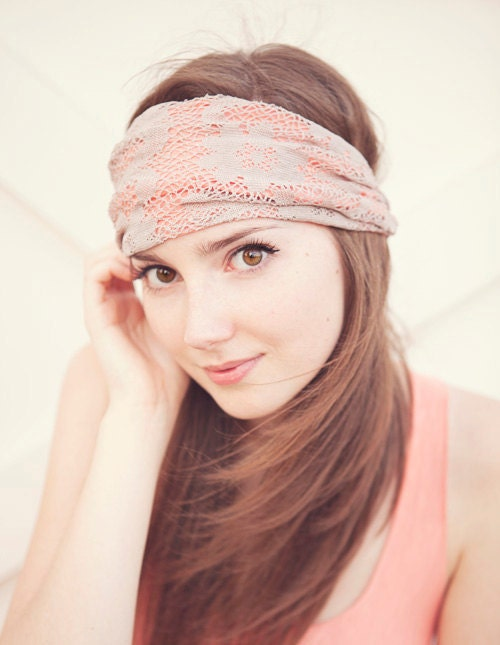 Peach and Ecru Lace Headband - BglorifiedBoutique
