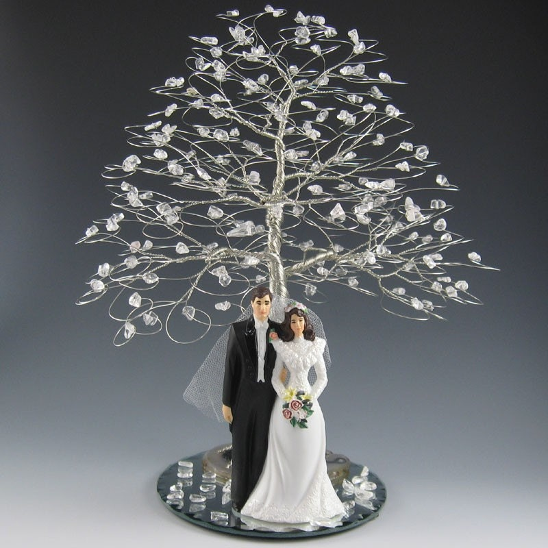 Winter Tree Wedding Cake Topper or Centerpiece with Figurine From byapryl