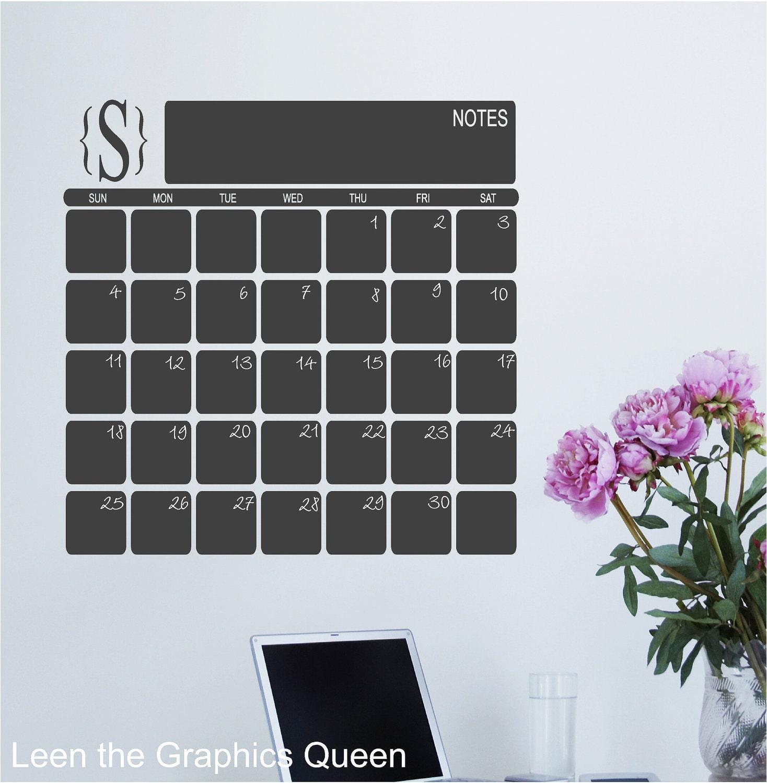 Chalkboard Perpetual Calendar with Monogram