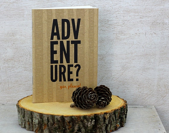 Adventure Travel Journal: Pocket Notebook, Mini Journal - Typography, Birch Tree, Outdoors, Men, Woodland, Black, Orange, Camping - sweetharvey