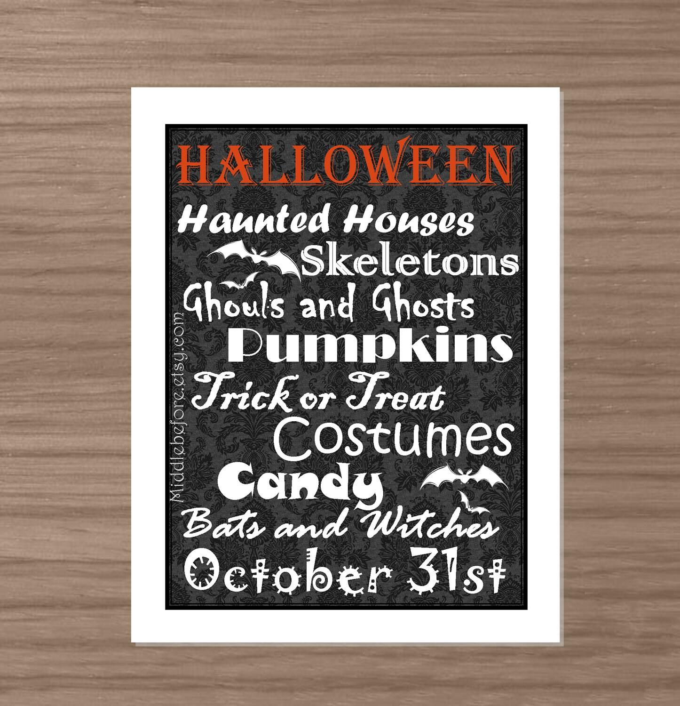 Printable Black and White with Orange Damask Halloween Subway Art Print- Halloween Decor