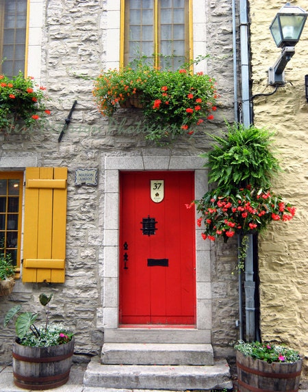 Red Door Photos Old Quebec City Photos. Vieux Quebec Canada 8x10 Travel Photograph Metallic Paper