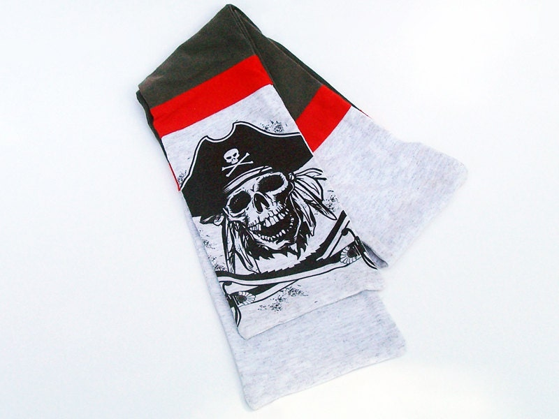 Pirate Scarf - Upcycled Grey and Red Stripe - urbangirlscoutart