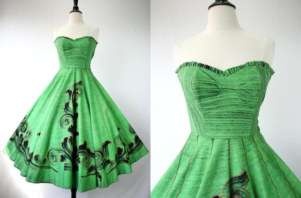"Vintage 50s Dress Party Sundress "" Original Tel-Art "" Mexican Handpainted Green Black Gold Painted Cotton Strapless Full Skirt 1950s Dresses"