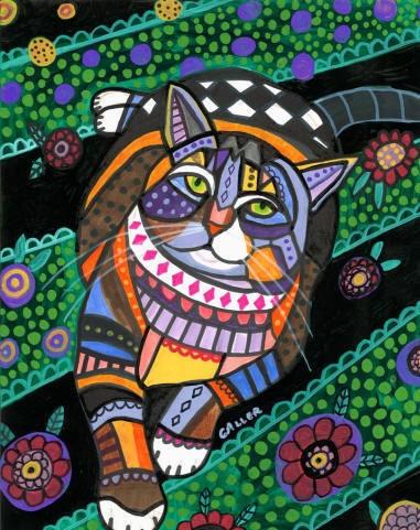 Folk art tabby cat print