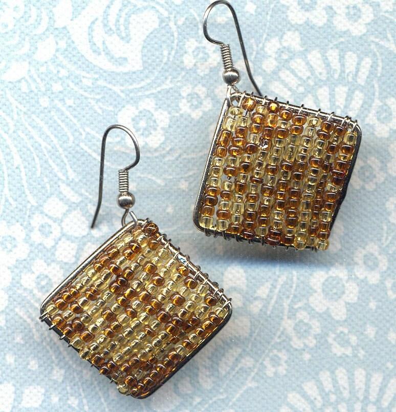 Statement Earrings in Seed Beads in Brown SALE - Annaart72