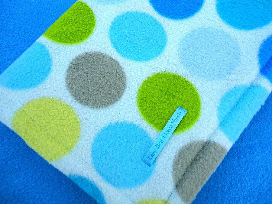PackNPlay Blanket and Sheet Set  Handmade Fleece Bedding Set for Babies 'Snowball Fight' Blue Polka Dot Print