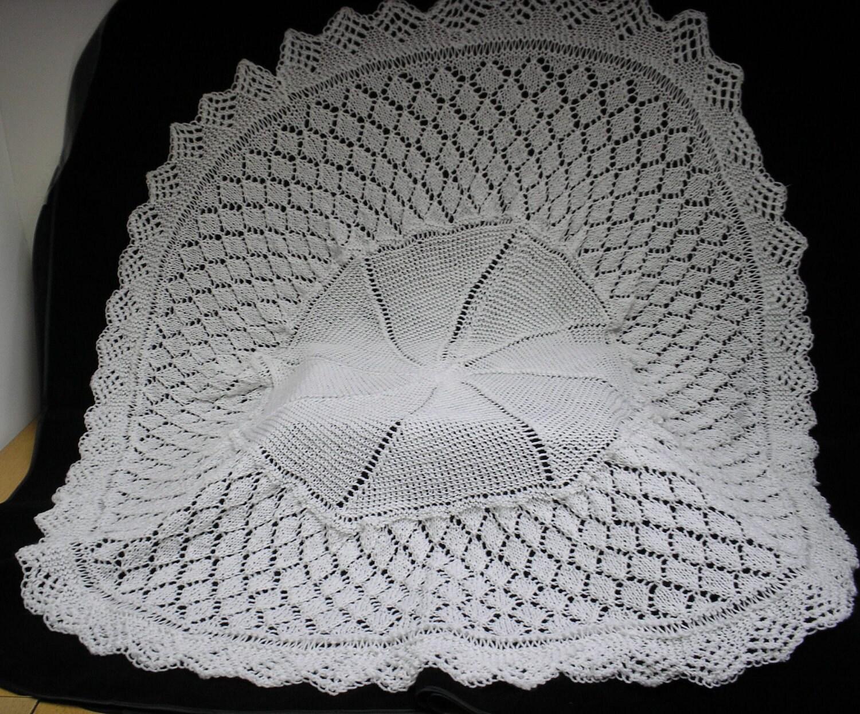 Hand Knitted Baby Circular Shawl White