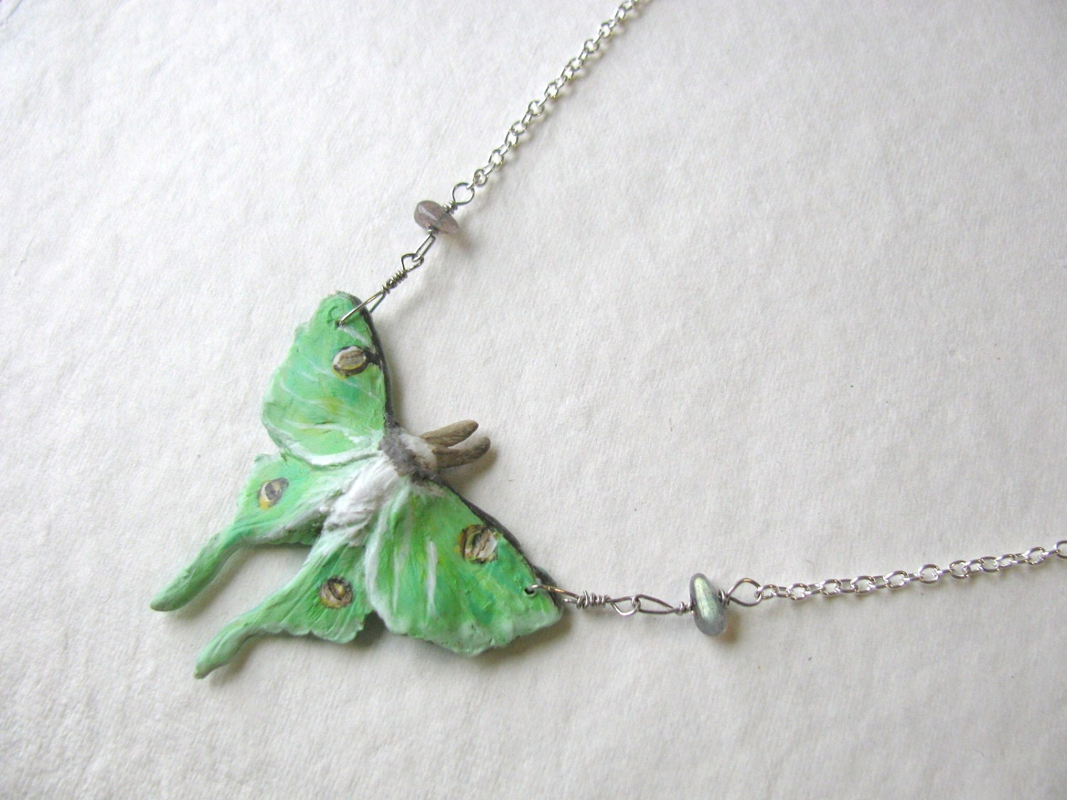 Luna Moth and Labradorite Necklace - cyanowl
