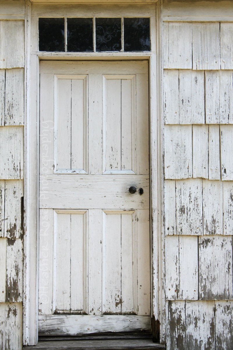 Old White Wooden Door 8inx12in Photograph - Old White house - Old Wood Door - Rustic Print - ArtbyHeatherRose