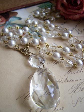 Crystalline Southern Gothic Upcycled Vintage Chandelier Prism and Rosary