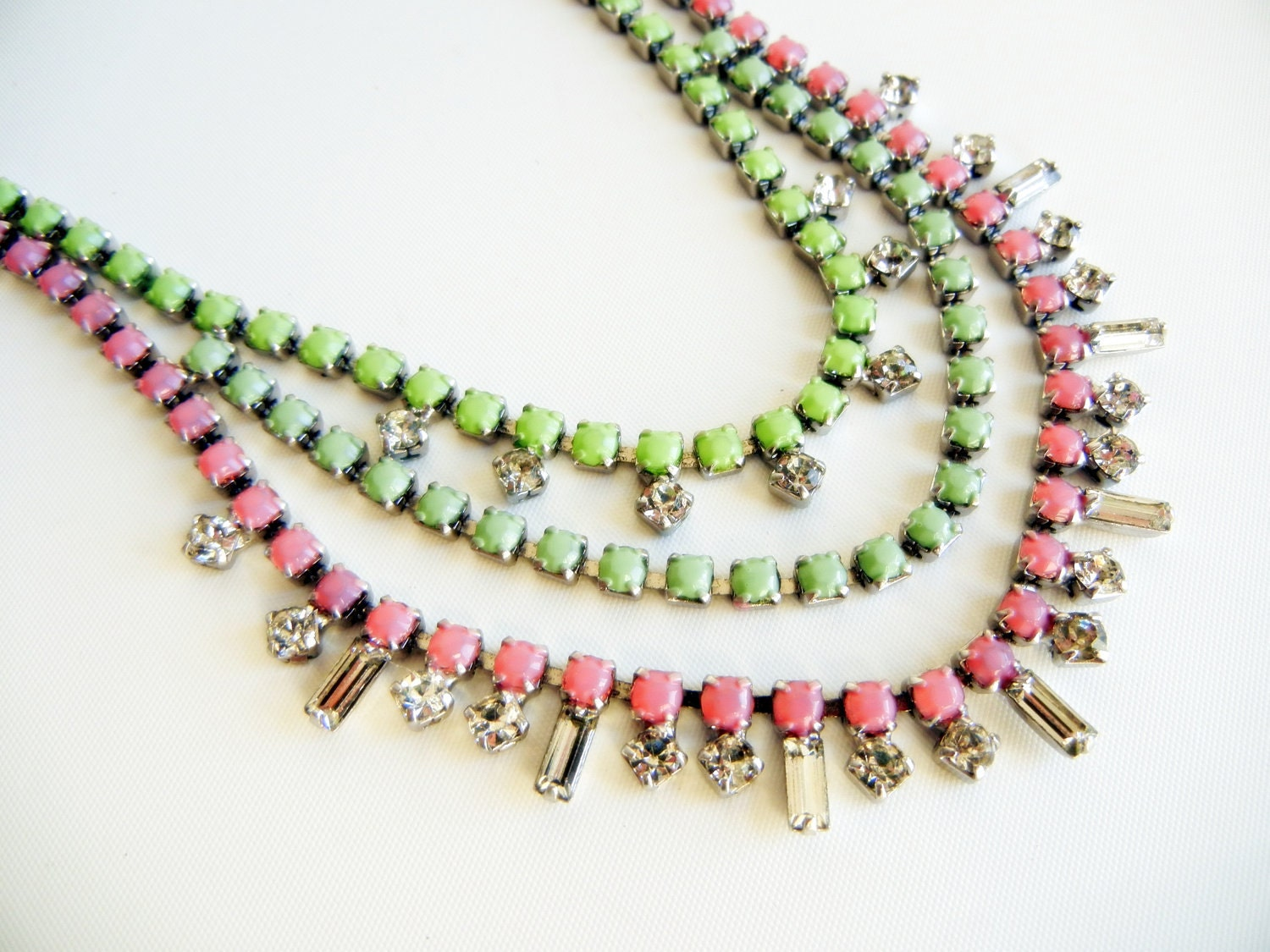 Vintage 1950s One Of A Kind Hand Painted Pale Pink and Mint Rhinestone Necklace