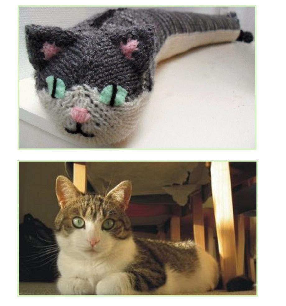 Boink the cat knitted door draft stopper made to by missminoes - Cat door stoppers ...