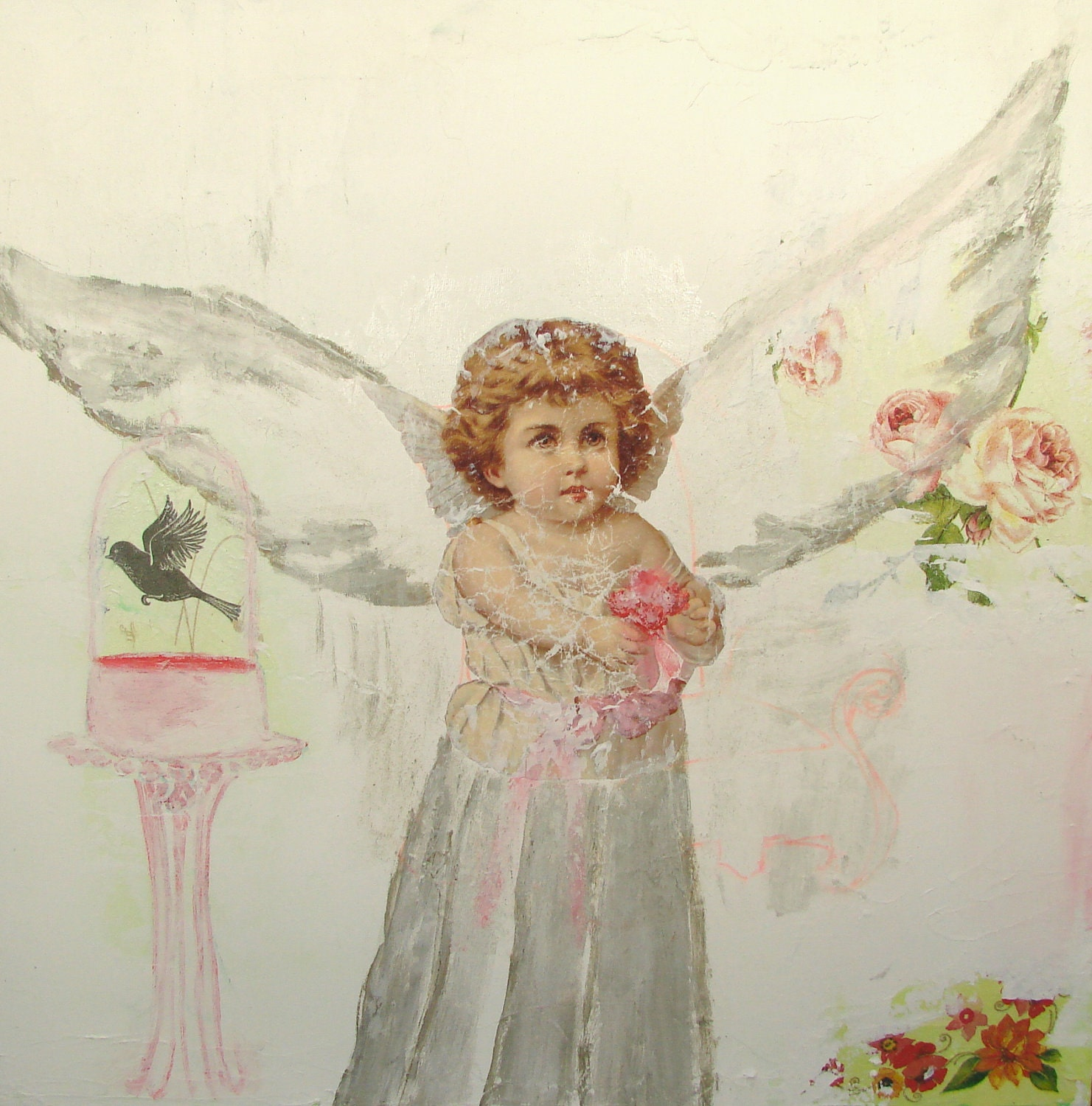 Original Acrylic Mixed Media Painting / Victorian Collage    15''x15''x 1.5'' My Guardian Angel by Noémia Prada