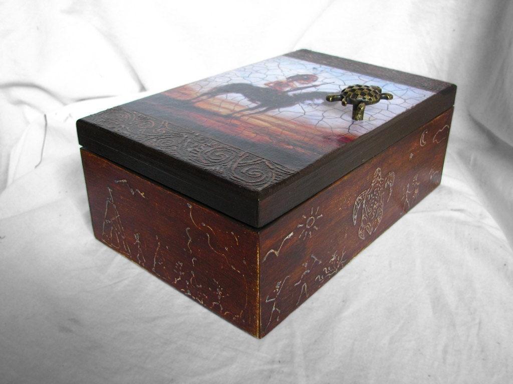 Декоративная коробка с декупажа по хранению чая Comanche