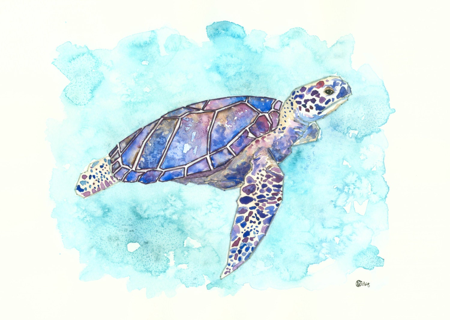 Sea Turtle Art Print - 10x8 - From Embroidered Watercolour-Signed- Blue, Green, Purple, Ocean - kroksg