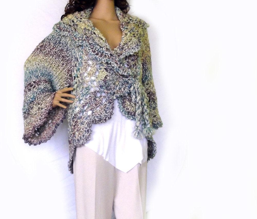 Long Sleeved Shrug Knitting Pattern : Knit crochet long jacket. Shrug cardigan. Spring shabby boho fashion