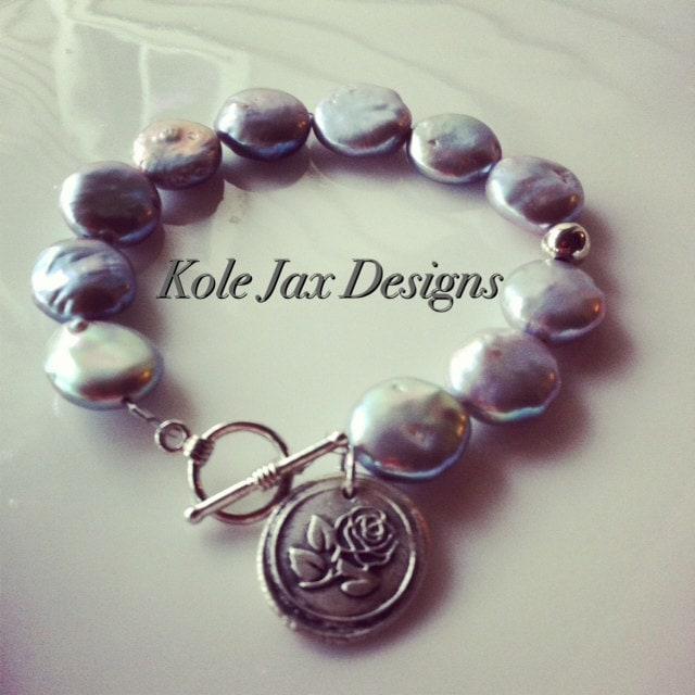 Gray freshwater coin pearls with Rose stamped Pure Silver Charm