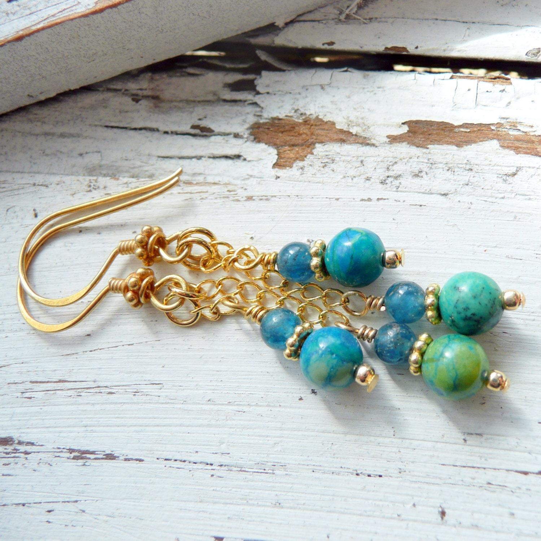 Island Girl Chrysoprase Kyanite Gold Vermeil Chandelier Boho Beach OOAK Earrings - pinksnakejewelry