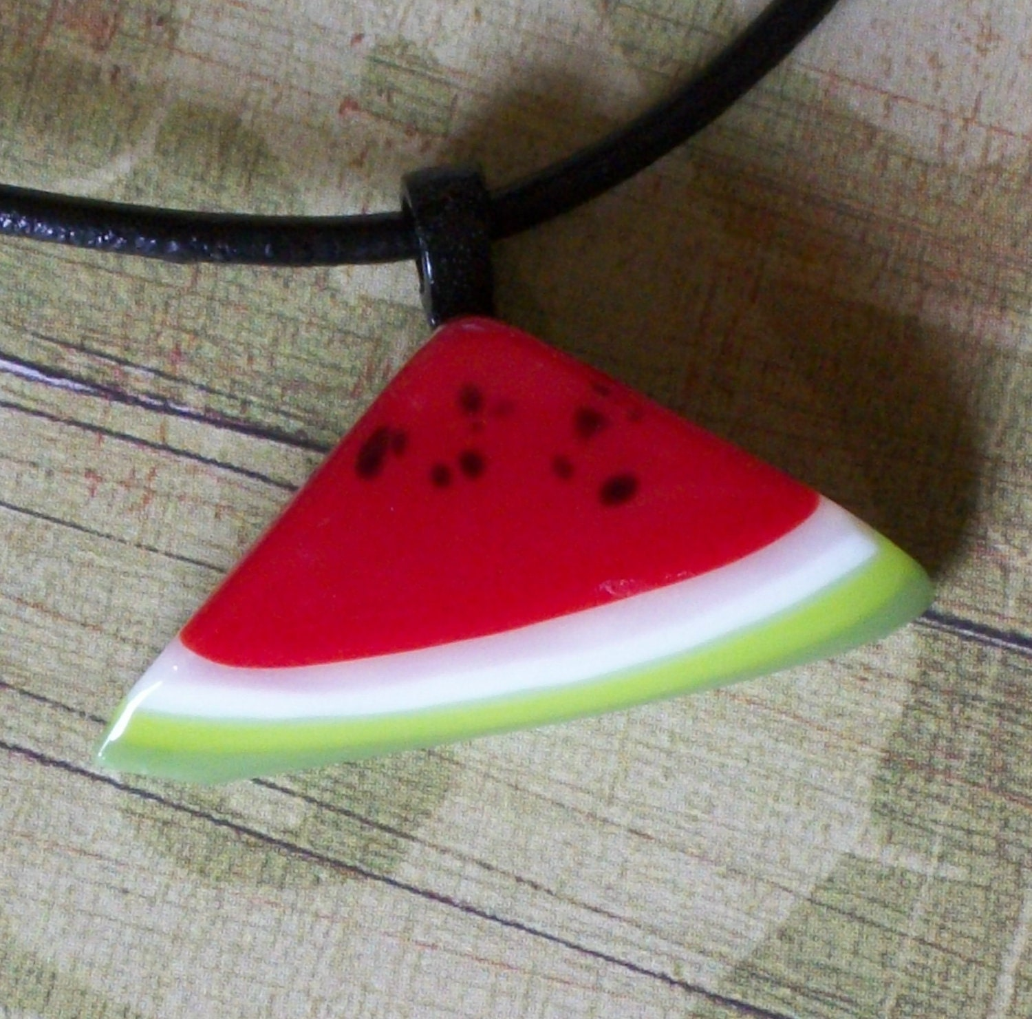 fused glass slice of  watermelon with seeds pendant necklace - papernclay