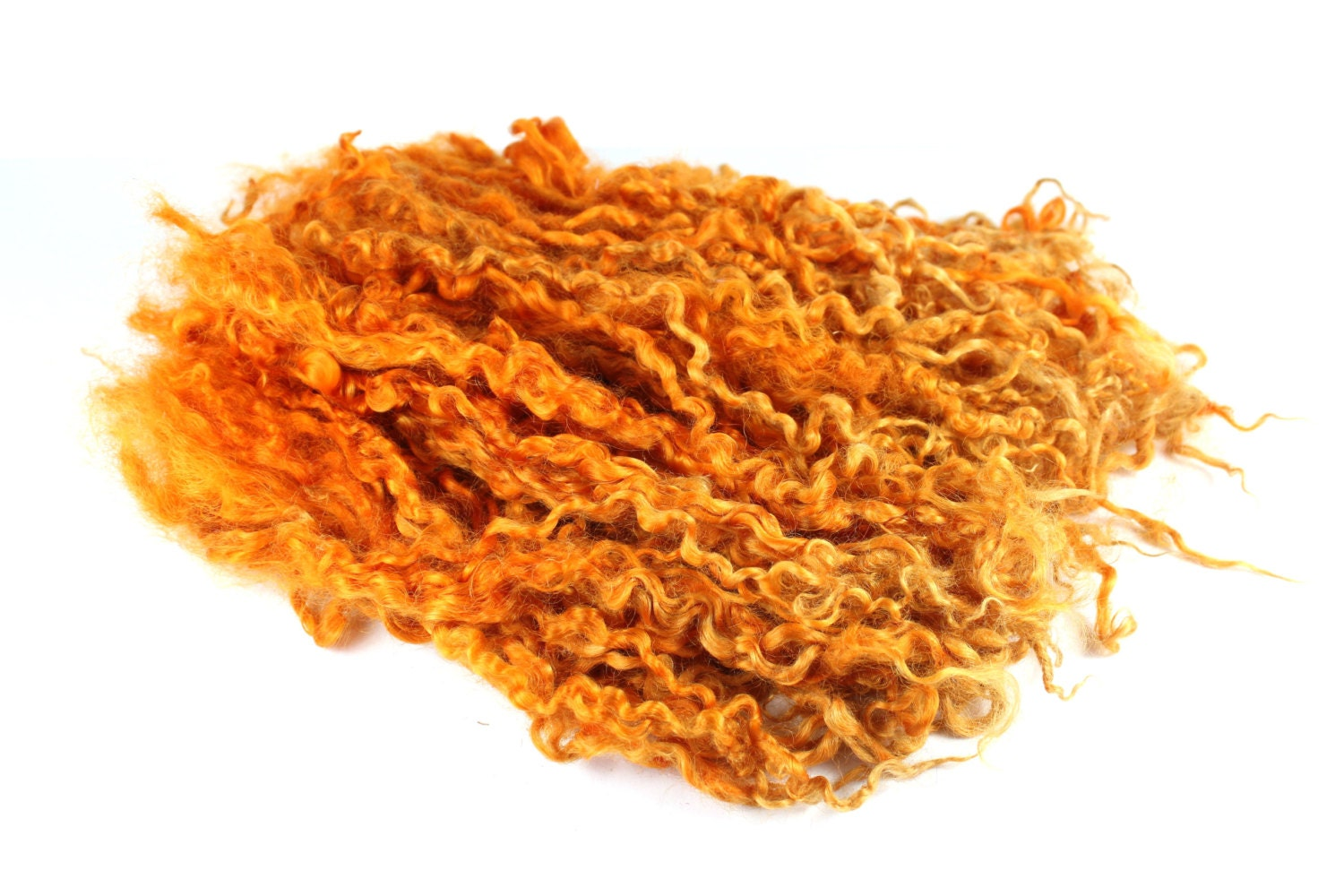 Rust Yellow Orange - Super long Locks curls from Teeswater sheep for Tailspinning, dollmaking, doll hair or felting - single color - SpinningMermaid