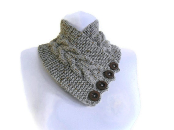 Men,Women,unisex, Khaki,Tweed, neckwarmers, autumn, wool, hand-knitted,fashion,gift,valentines day