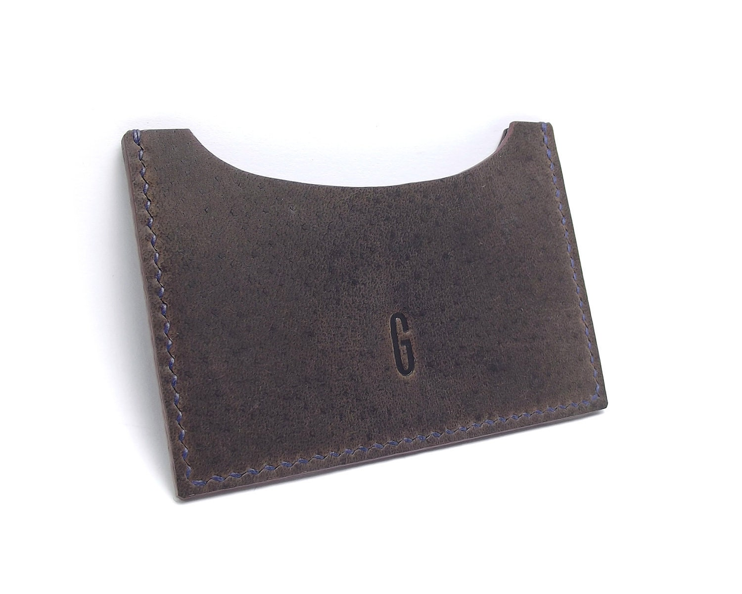 Monogrammed Dark Leather Card Holder, Business Card Case, Travel Wallet for Him, Brown Leather, Crazy Horse, horizontal - sakao