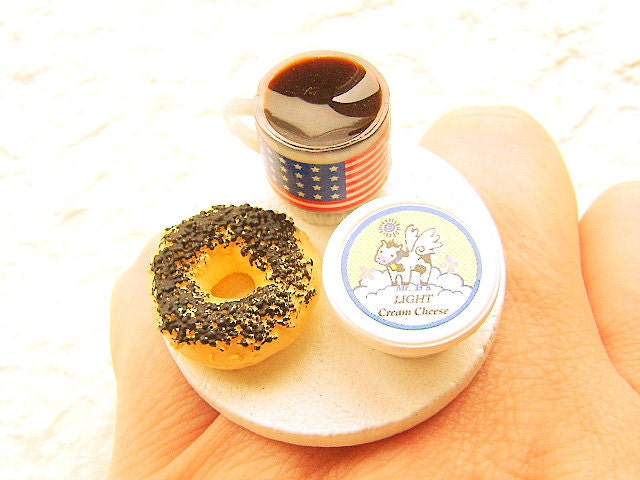 Coffee  Ring Bagel Cream Cheese Miniature Food Jewelry