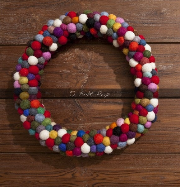 Wool Felt Balls Christmas Wreath Multicolor