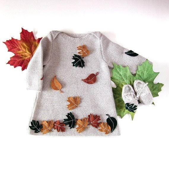 لباس بافتنی کودک را با برگ های احساس
