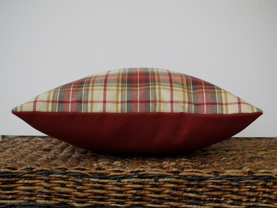 "16"" DECORATIVE PILLOW COVER - Winter Wool Plaid in Cranberry Red, Cream, Gold and Green by JillianReneDecor Country Autumn Home Decor - JillianReneDecor"