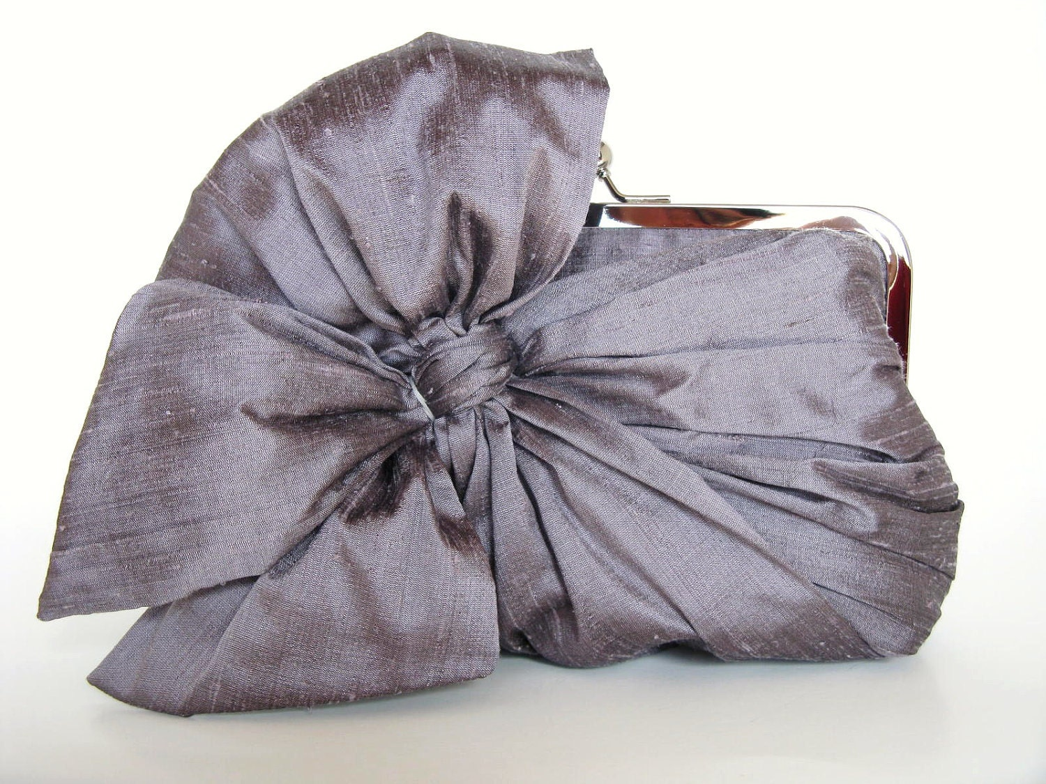 Silk Bow-charcoal-Bridal Clutch-Bridesmaid Clutch-Clutch Purse-Formal