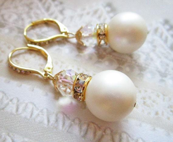 Bridal Earrings, White, Wedding,  Swarovski Crystals, Rhinestones